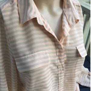 Old Navy Sheer Striped Button Down Blouse